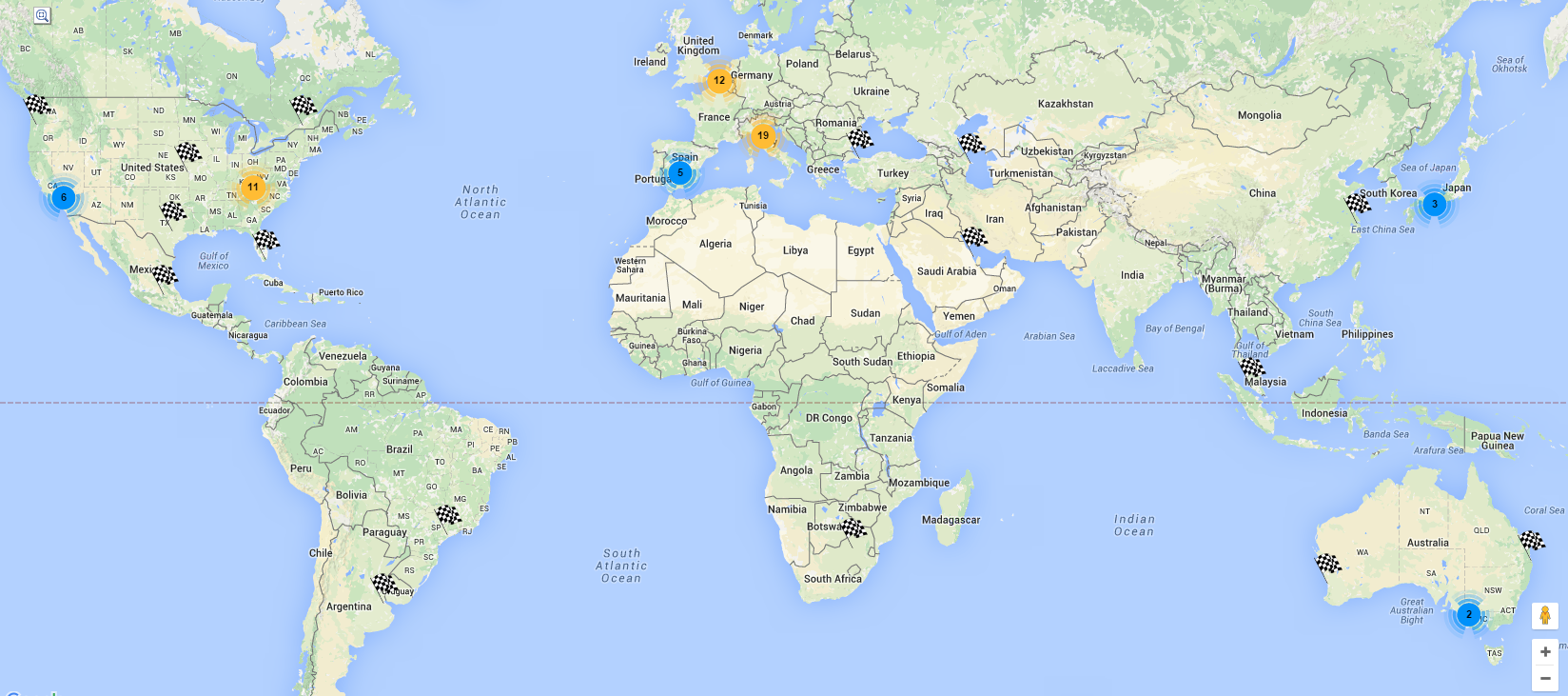 Online Map Of The Most Famous Race Tracks In The World - Online world map